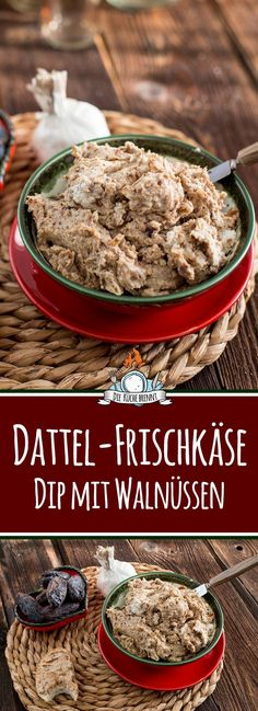 Dattel Frischkäse Dip Walnuss Date cream cheese dip with walnuts for grilling or as a spread - Pesto Dip, Sauce Pesto, Appetizer Dips, Healthy Appetizers, Appetizers For Party, Appetizer Recipes, Healthy Fruits, Healthy Drinks, Gourmet