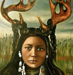 Deer Woman is a shape-shifting woman in Native American mythology. She appears at various times as an old woman, or a young beautiful maiden, or a deer. Some descriptions assign her a human female upper body and the lower body of a white-tailed deer. Native American Mythology, Native American Indians, Native Americans, Claudia Tremblay, Sacred Feminine, Gods And Goddesses, Monster, First Nations, Mythical Creatures