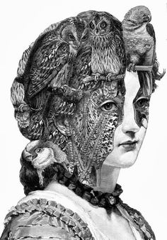 """This morning we take a look at these incredibly detailed engravings and collages by Paula Braconnot. """"The collages act as conduits, allowing prec. Collages, Collage Art, Collage Portrait, Art And Illustration, Dan Hillier, Pencil Drawings Of Animals, Drawing Animals, Art Simple, Amazing Drawings"""