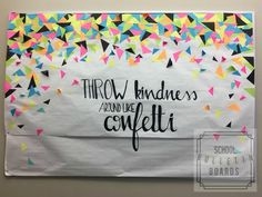 Confetti Kindness Bulletin Board - This is a perfect bulletin board for any student in any school! Such a great message to spread a positive acts of kindness! How can you use this board with your students? Have a group discussion … Camping Bulletin Boards, October Bulletin Boards, Interactive Bulletin Boards, Halloween Bulletin Boards, Teacher Bulletin Boards, Back To School Bulletin Boards, Classroom Bulletin Boards, Display Boards For School, Primary Classroom