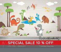 Wall Decal, Dinosaur Nursery Kids Wall Decal - Nursery Wall Décor