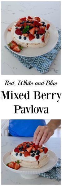 This simple Red, White and Blue Mixed Berry Pavlova will be the hit of all your summer gatherings.