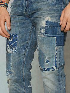 Slim-Fit Repaired Jean - Slim Jeans - RalphLauren