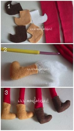 come-fare-folletti-in-pannolenci. Christmas Sewing, Christmas Gnome, Christmas Projects, Holiday Crafts, Felt Crafts, Diy And Crafts, Felt Ornaments, Christmas Ornaments, Easy Christmas Decorations