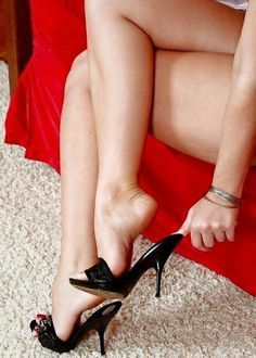 Black patent mules and great legs