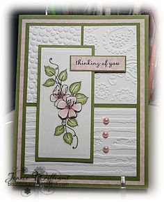handmade card  from Bloomin' Paper: CASE card ... white with pink and green ... sweet flower  ... luv the use of different embossing folders on the three background panels ...