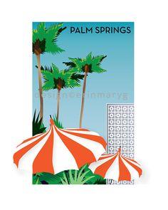 8 x 10 Palm Springs CA palm trees umbrellas digital print, retro style illustration