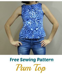 Free Sewing Pattern:  Pam Top:  Learn how to make this easy A-line top for women.  Get access to hundreds of Free printable PDF sewing patterns and tutorials online.  The blog includes simple, unique and easy free sewing patterns for women on sizes 4 to 22.  There are also free sewing patterns for girls and boys included in sizes 12 months to 8 years.