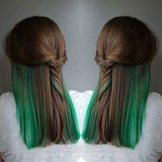 Brown Hair With Green Peekaboo Highlights