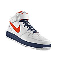 I designed the white, dark blue and orange Cal State Fullerton Titans Nike Air Force 1 Mid iD women's shoe.