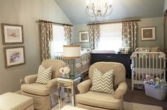 This soothing neutral nursery will help mom stay calm while pulling double duty with twins!