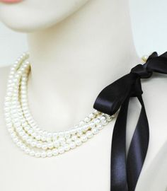 Pearl and ribbon necklace (Etsy)
