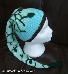 Jack & the Bean Stalk!  Crocheted Long Hat Scarf for 6 to 10 years.