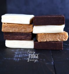 Easy Fudge 3 Ways: Chocolate, Vanilla & Peanut Butter. She has a recipe for Homemade Sweetened Condensed Milk and a Non-Dairy version too. Fudge Recipes, Candy Recipes, Dessert Recipes, Gluten Free Sweets, Gluten Free Recipes, Vanilla Fudge, Delicious Desserts, Yummy Food, Gluten Free Peanut Butter