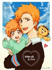 This is too precious.. Ichigo with his and Inoue's son... and Kon.