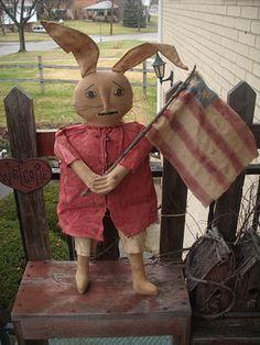 "Primitive Patriotic Americana Bunny Hanging Door Greeter   kklprimitives.blo...    25"" tall - not including bendable ears"