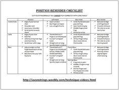 String Position Checklist (Orchestra)