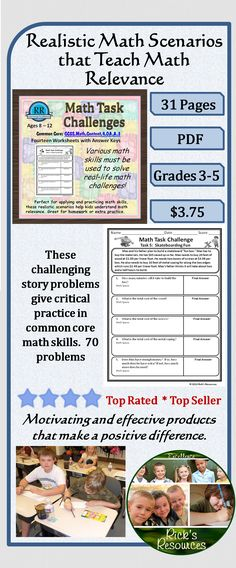 Real life math challenges require a variety of math skills to solve. These challenges are perfect for applying and practicing math skills and helping students understand math relevance. Great for homework, centers, or groups. Targeted age range is 8-12. These activities address the common core standard for fourth grade as follows: CCSS.Math.Content.4.OA.A.3 There are 14 worksheets - 70 problems with answer keys.