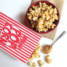 This luscious peanut butter popcorn is sweet, chewy and an easy no-bake treat!