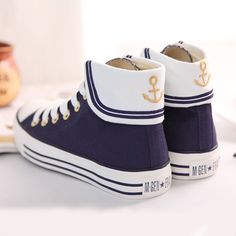 Cute Navy Wind Anchor Student Shoes