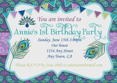 Hey, I found this really awesome Etsy listing at https://www.etsy.com/listing/152054325/pretty-as-a-peacock-birthday-invitation