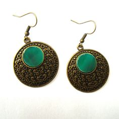 Boho Sea Green Stained Glass Earrings - Round Filigree Earrings - Vintage Style Jewelry by Tocasol on Etsy