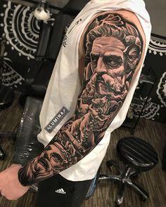 Amazing artist Dode Pras from awesome Pos. - Amazing artist Dode Pras from awesome Poseidon angel horse r - Zeus Tattoo, Statue Tattoo, Poseidon Tattoo, Tattoo Ink, Half Sleeve Tattoos For Guys, Full Sleeve Tattoos, Tattoo Sleeve Designs, Cool Forearm Tattoos, Forearm Tattoo Men