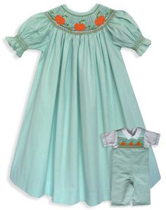 Smocked Pumpkins Fall bishop dress what a great by CarouselWear