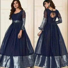 Gown Party Wear, Party Wear Indian Dresses, Indian Gowns Dresses, Indian Fashion Dresses, Girls Frock Design, Fancy Dress Design, Stylish Dress Designs, Designs For Dresses, Blouse Designs Silk