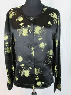 New April Cornell Black & Gold Floral Silk Jacket Size M/L #AprilCornell #BasicJacket