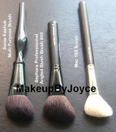 Mac 168 Large Angled Contour Brush DUPES vs Sonia Kashuk Multi Purpose Brush vs Sephora Professionnel Angled Blush Brush #40