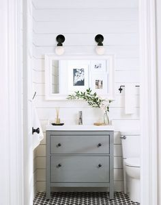 HEMNES/RATTVIKEN vanity combination with 2-drawers