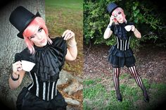 Teacup From Goodwill, Lip Service Black Dress, My Grandma's Old Ring, Monicle From My Brother, Skull Bracelette From Halloween Store, Top Hat From Thrift Store, Arda Pink Wig From Megacon, Ruffled Neck Piece From My Brother!, Striped Stockings From Hallow
