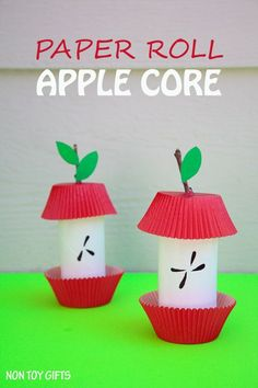 Paper roll apple core craft. Easy fall craft for kids!