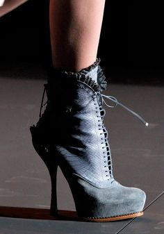Beautiful suede stilletto bootie in my favorite color. Christian Dior. Fall 2011 Ready to Wear Collection.
