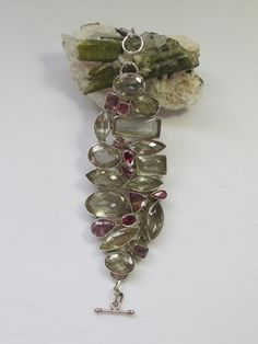 *Green Amethyst Bracelet with Pink and Lavender Tourmaline Gemstones