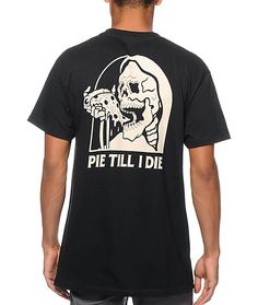 "Cop a fresh new style with a skeleton eating a slice of pizza and ""Pie Till I Die"" text graphic at the left chest and back."
