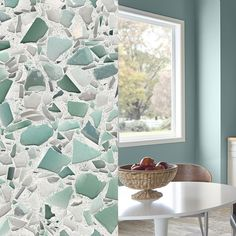 For a design inspired by the sea and waves, choose Aqua Current recycled glass countertops. Vetrazzo by Laura U, mid-century modern coastal. Behr Colors, Neutral Paint Colors, Gray Paint, Recycled Glass Countertops, Aqua, Dark Wood Stain, Exterior Paint Colors For House, Color Of The Year, Next At Home