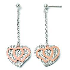 Leslie's Sterling Silver Rose-tone Flash Plated Heart Dangle Earrings QLE304