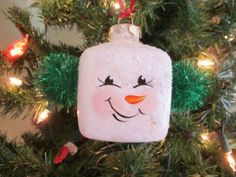 Snowman Face on Square Glass Ornament