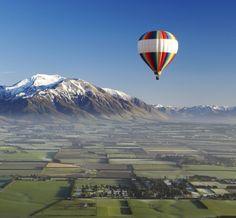 Balloon safari over the Canterbury Plain, New Zealand