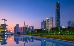 Guangzhou International Finance Center, Guangzhou, China (1,440 feet) ~ In China's 3rd largest city stands this sleek rounded office building housing a high-in-the-sky Four Seasons with amazing views.