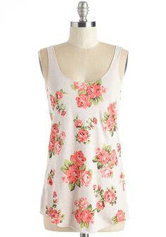 All of a Buddin' Top. Like sweet serendipity, you stumble upon this floral tank just as the seasons change and balmy days arrive! #cream #modcloth