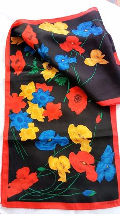 "Vintage Long 52"" Liz Claiborne Black Red Bright Floral Poppies Scarf Signed #LizClaiborne #Scarve #Everyday"