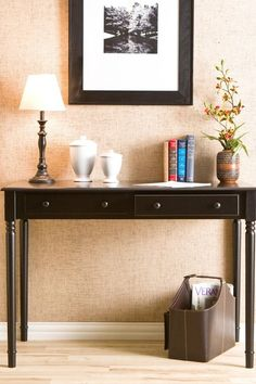 Satin Black 2 Drawer Writing Desk by Traditional Loft Style on @HauteLook
