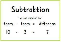 Subtraktion plansch Teaching Schools, Teaching Math, Math Classroom, Kindergarten Math, Montessori, Future Jobs, Teaching Materials, Math Lessons, Mathematics