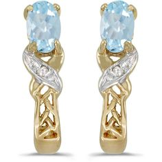 14k Yellow Gold Oval Aquamarine And Diamond Earrings (CM-E2584X-03) (5 145 UAH) ❤ liked on Polyvore featuring jewelry, earrings, aquamarine earrings, yellow gold diamond earrings, 14k diamond earrings, yellow gold earrings and gold diamond earrings