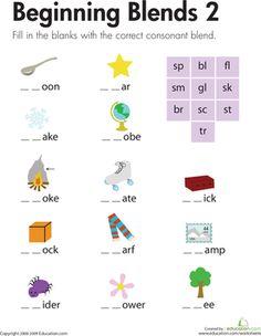 letter blend worksheets | First Grade Phonics Spelling Worksheets: Beginning Blends 2
