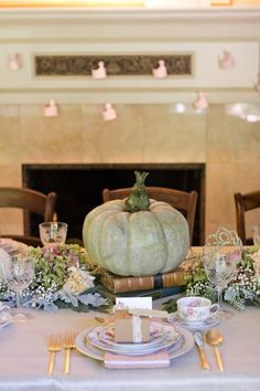 once upon a time fairy tale fantasy enchanted garden baby shower place setting books pumpkin frog prince