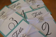 Crystal Wedding Table Number Cards by TakeNoteCreations on Etsy, $8.95